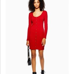 TOPSHOP Ribbed Long Sleeve Red Dress